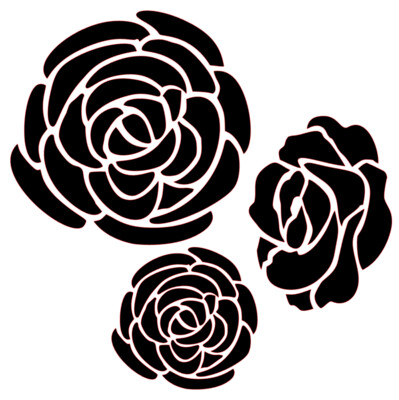 Roses & Peonies large 12x12 stencil