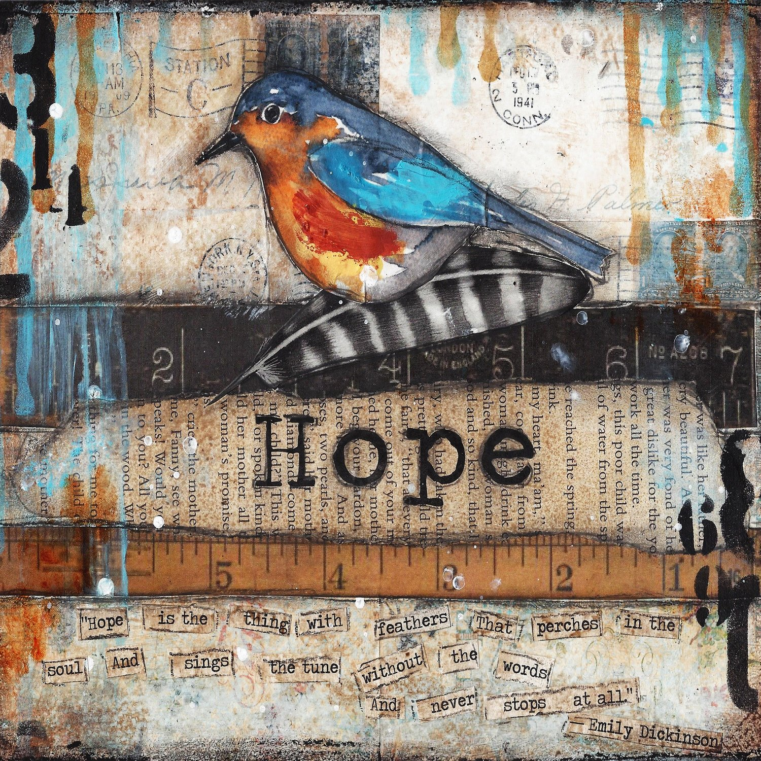 """""""Hope Bird"""" Print on Wood and Print to be Framed"""