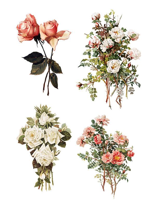Vintage Floral collage pak Sunday inspiration 7-2-17 instant download