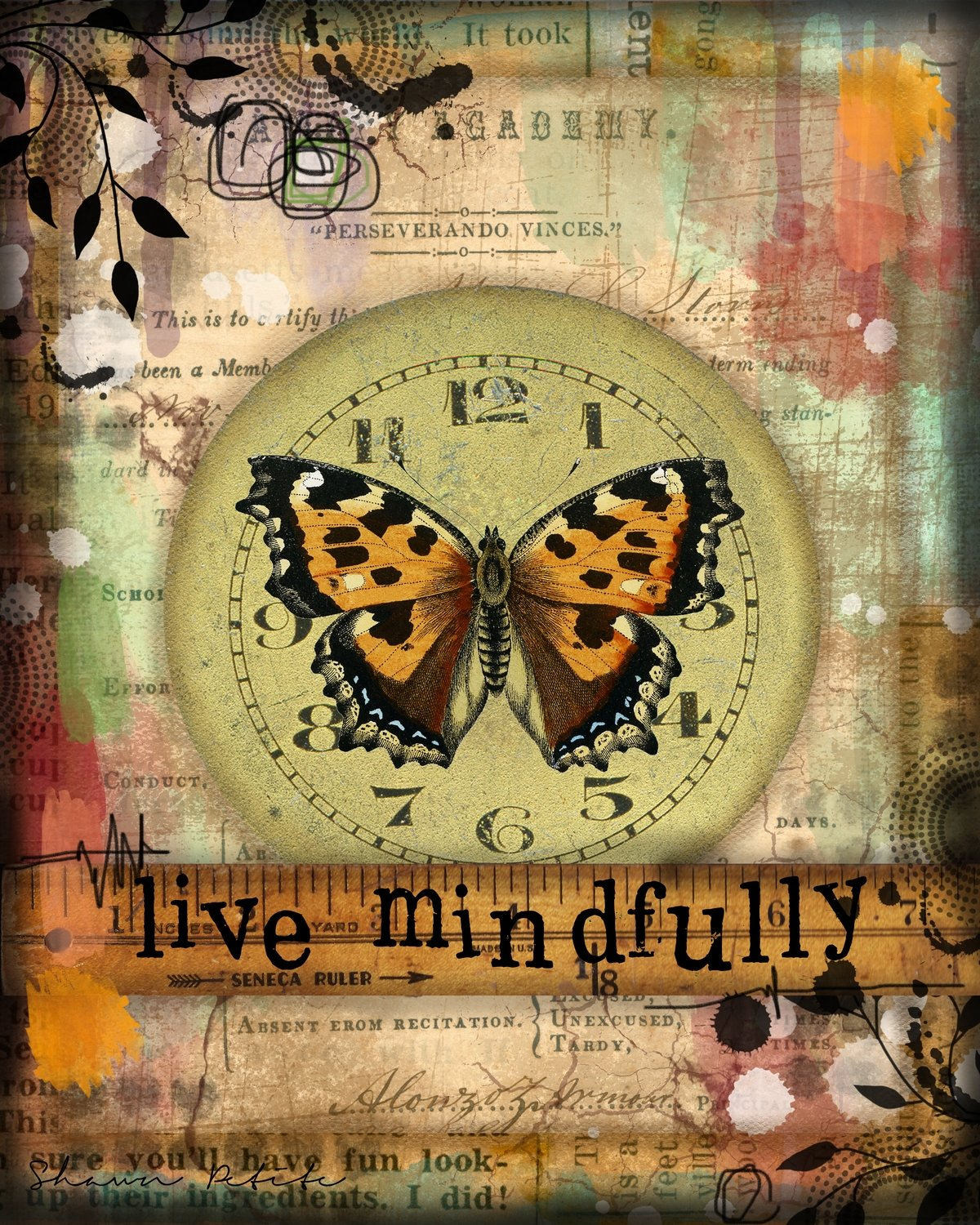 """Live Mindfully"" butterfly Print on Wood and Print to be Framed"