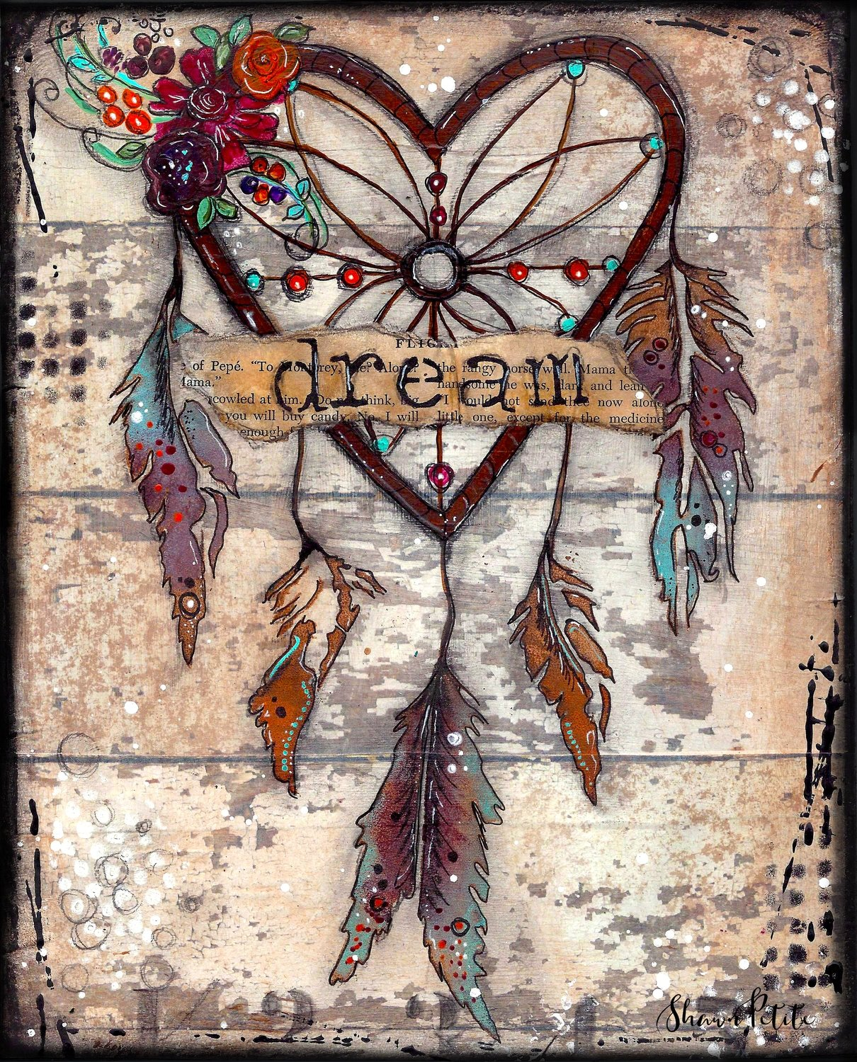 """""""Dream"""" dream-catcher Print on Wood and Print to be Framed"""
