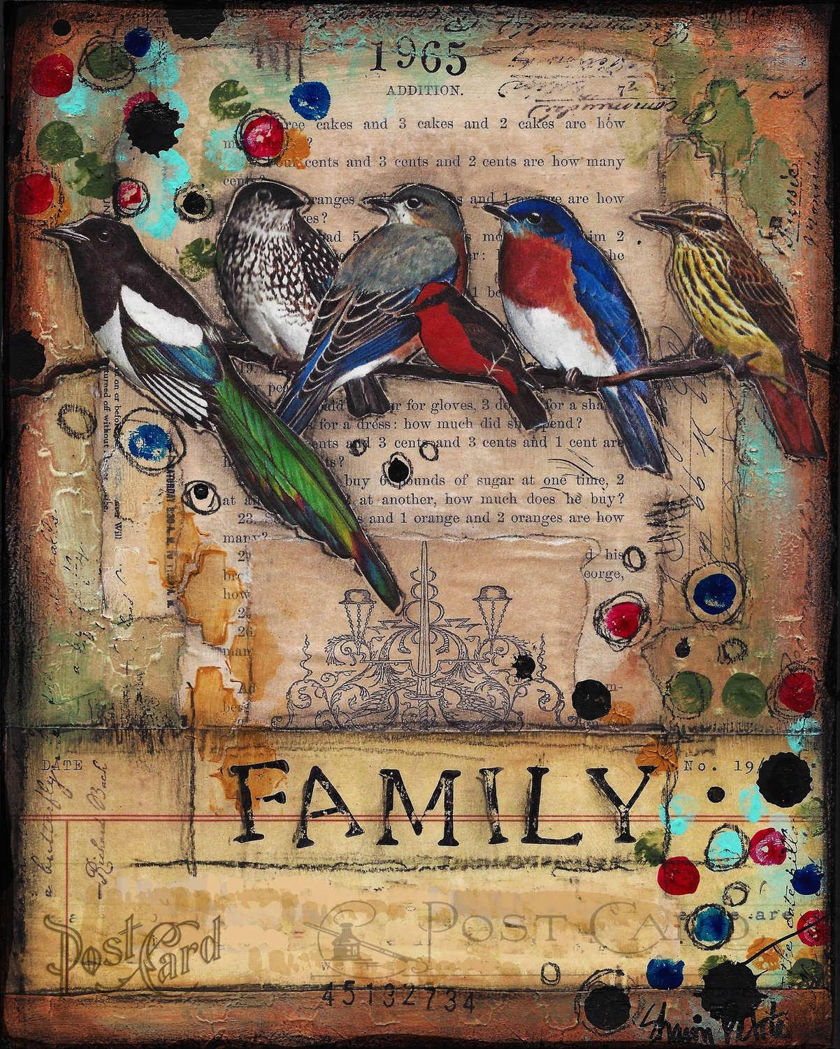 """Family"" birds Print on Wood and Print to be Framed"