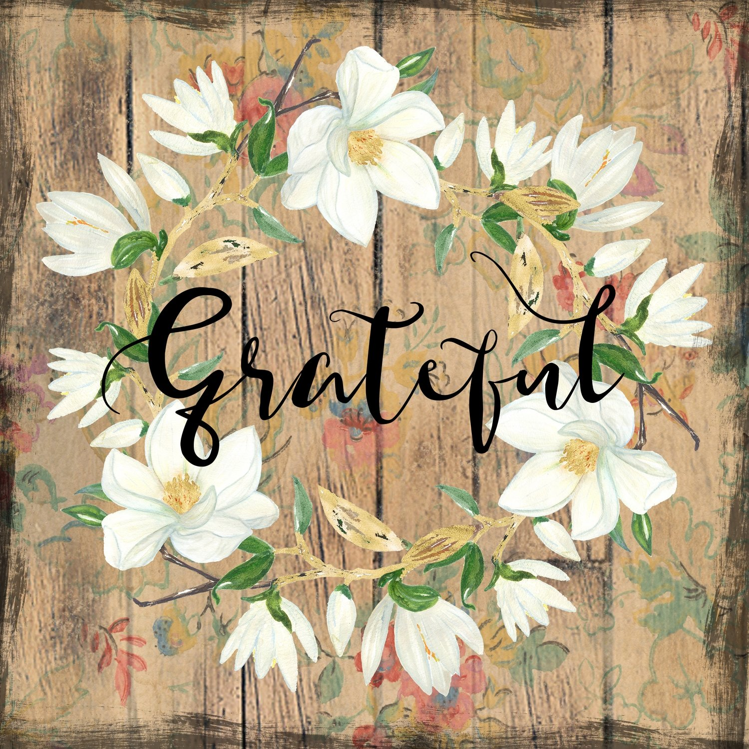 """""""Grateful"""" wreath Print on Wood and Print to be Framed"""