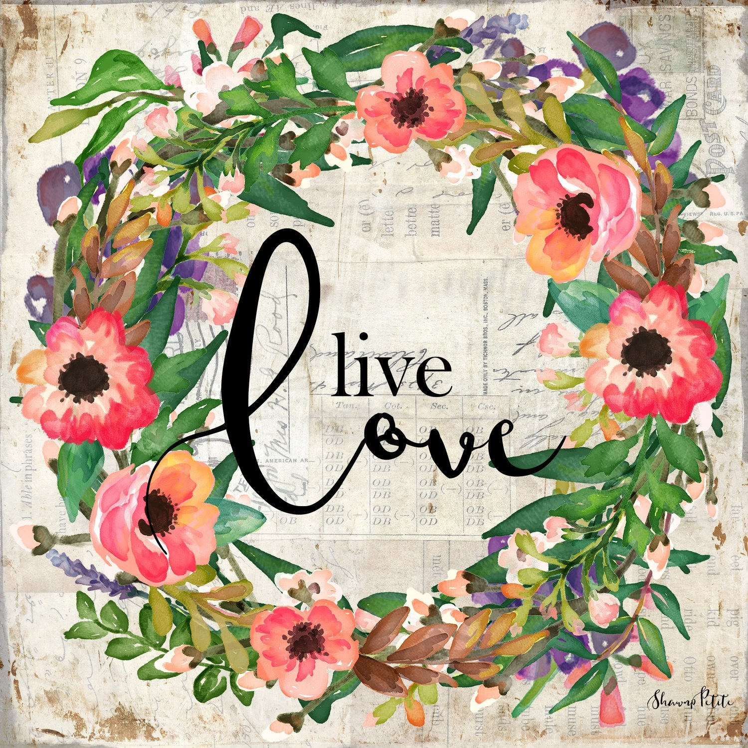 """""""Live Love"""" wreath Print on Wood and Print to be Framed"""