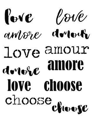 Words of love stencil