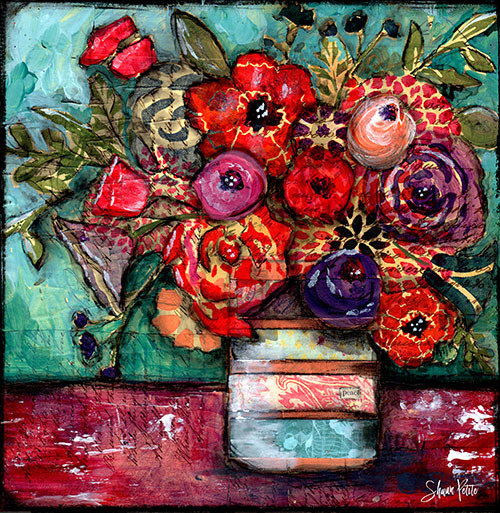 """""""Peace"""" Grungy bright flower vase Print on Wood and Print to be Framed"""