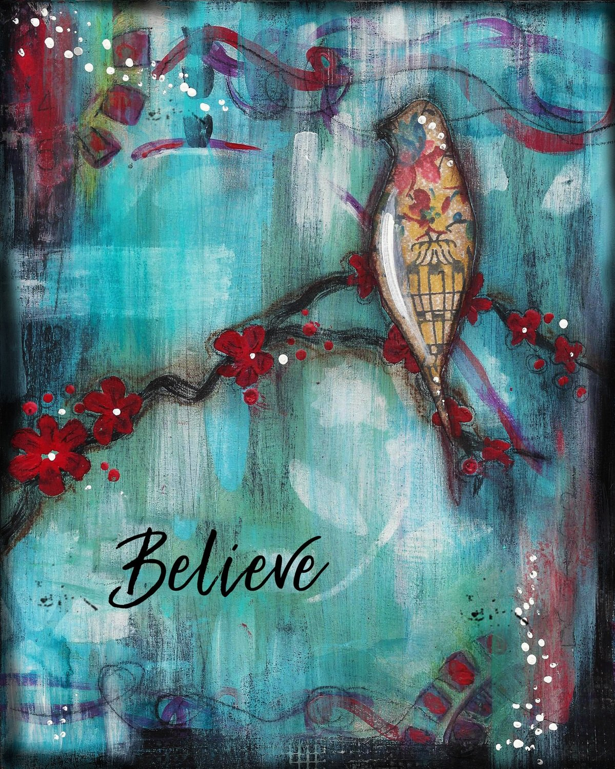 """""""Believe"""" bird Print on Wood and Print to be Framed"""