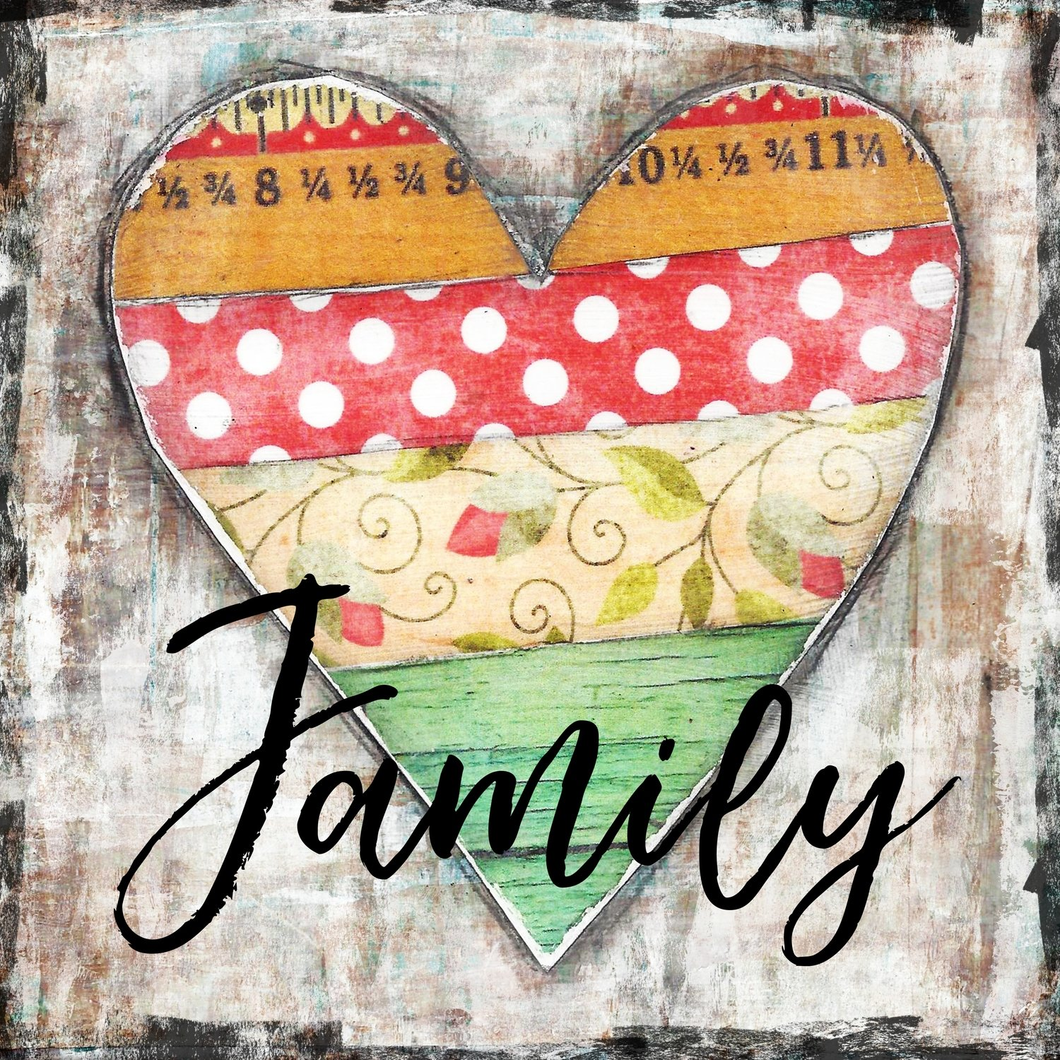 """""""Family"""" vintage bright heart, Print on Wood and Print to be Framed"""