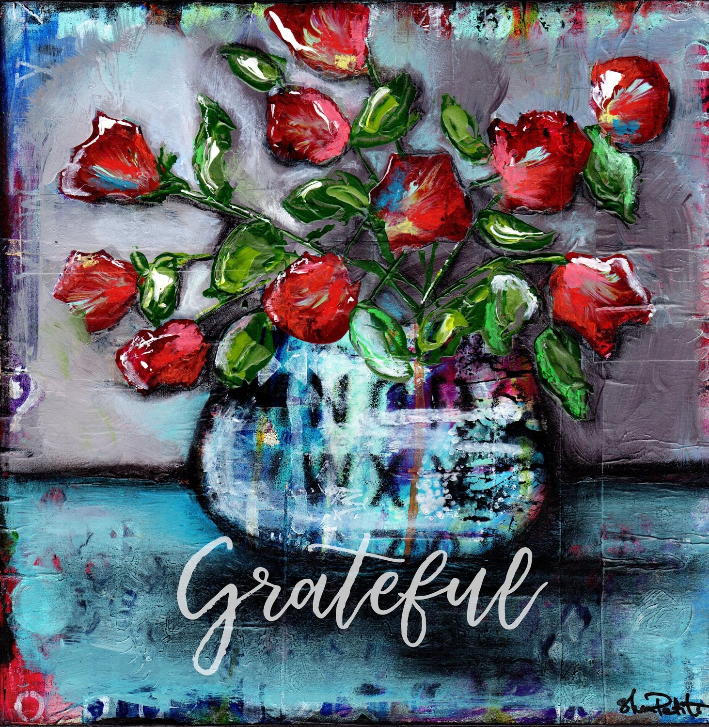 """""""Grateful"""" grungy flower vase Print on Wood and Print to be Framed"""