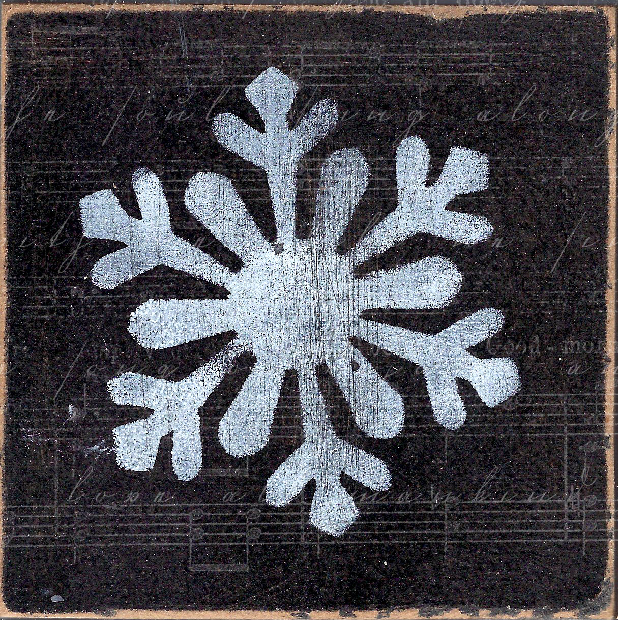 """Snowflake 1"" black and white, Print on Wood and Print to be Framed"