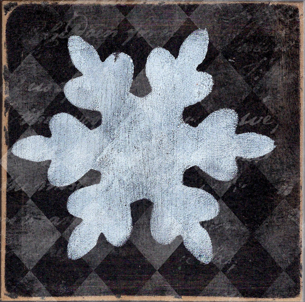 """Snowflake 2"" black and white, Print on wood and Print to be Framed"