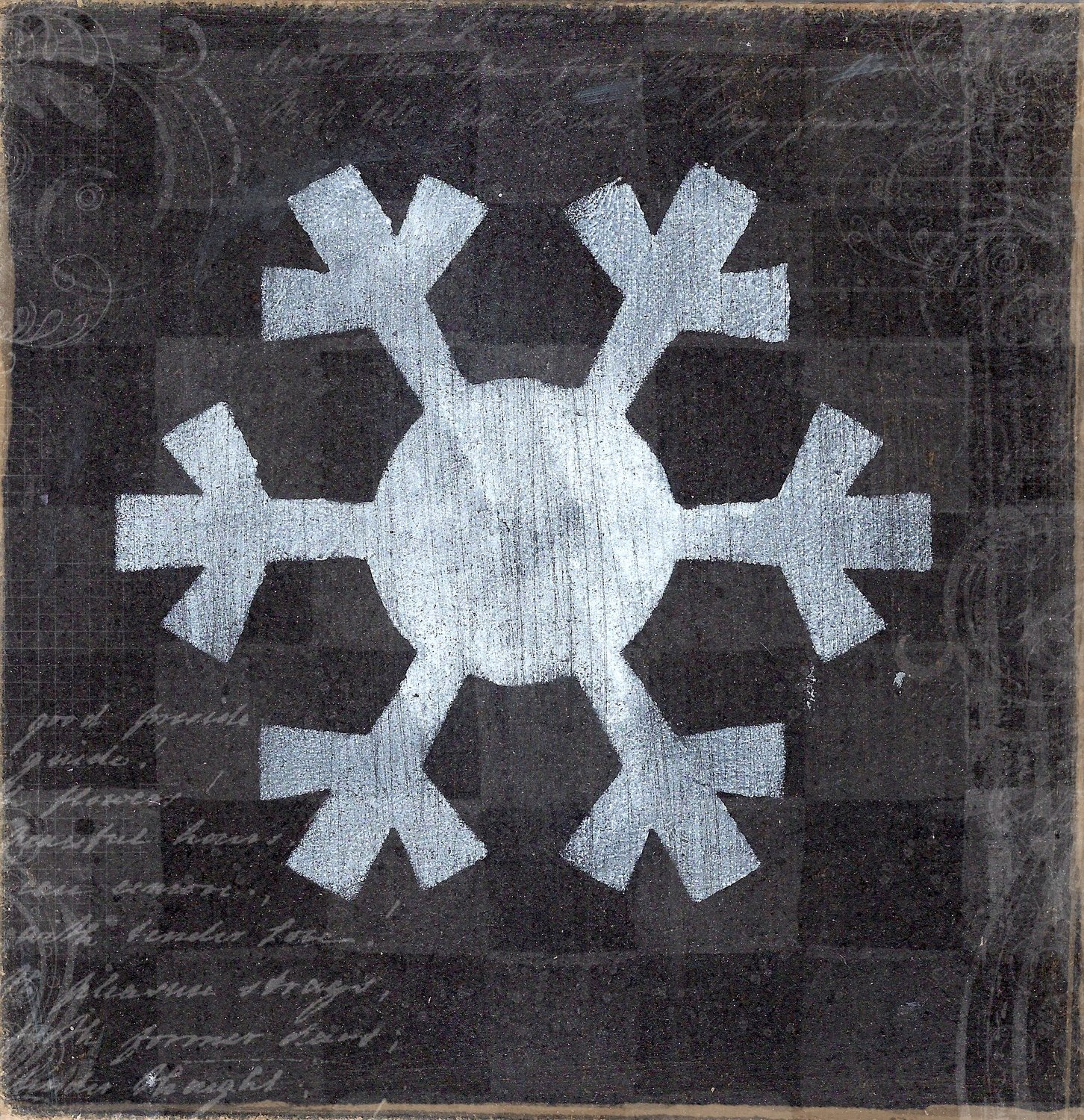 """""""Snowflake 3"""" black and white, Print on Wood and Print to be Framed"""