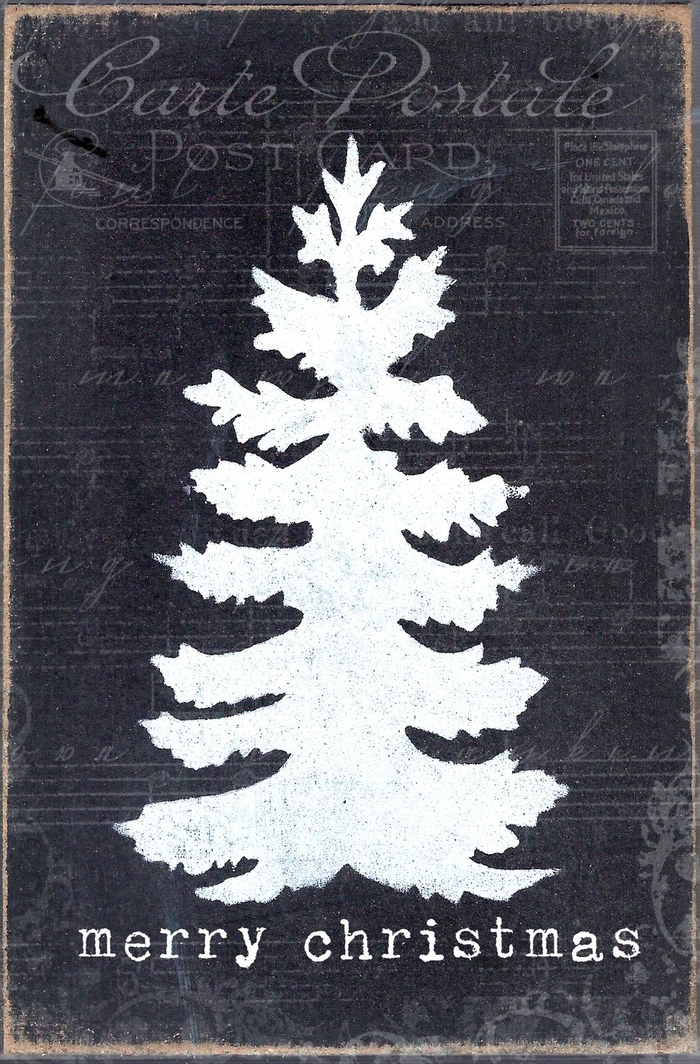 """""""Merry Christmas"""" black and white tree, Print in Wood and Print to be Framed"""