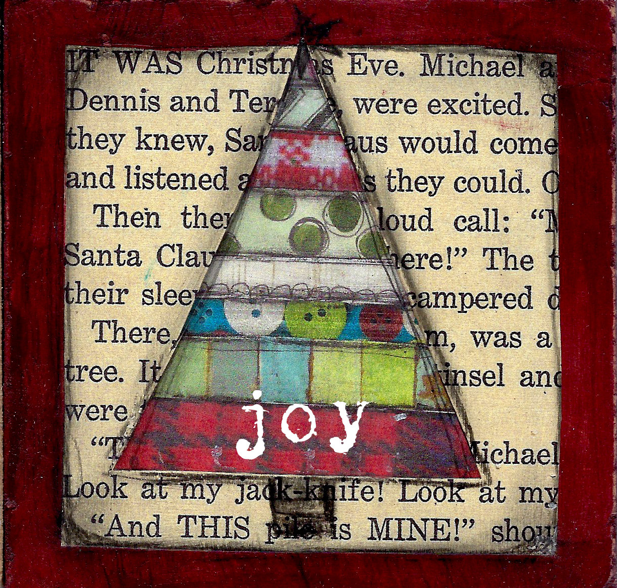 """Joy"" scrappy Christmas Tree Print on Wood and Print to be Framed"
