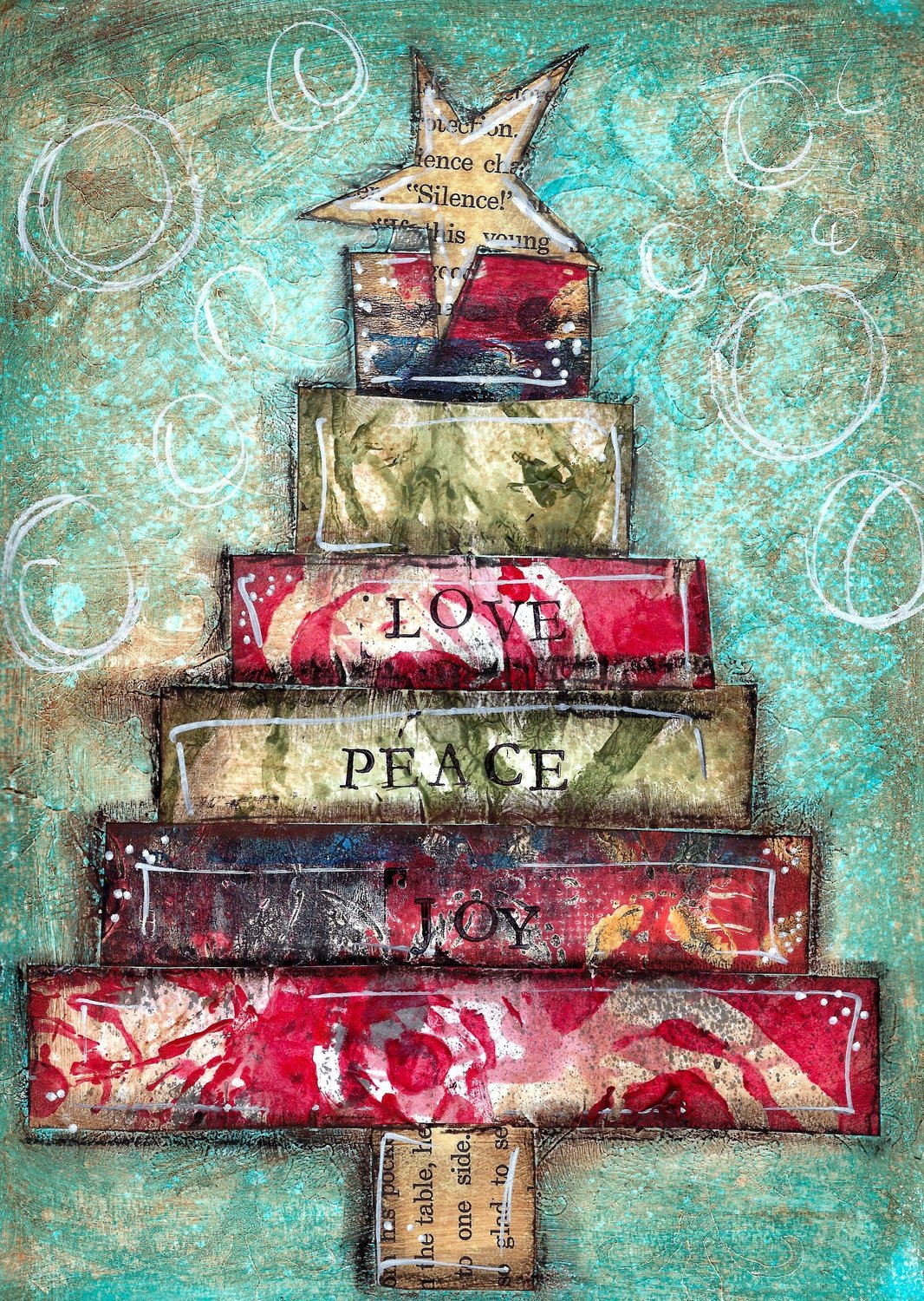 """Love, Peace, Joy"" scrappy Christmas Tree Print on Wood and Print to be Framed"