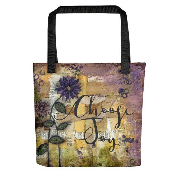 Tote bag Choose joy scrappy flower