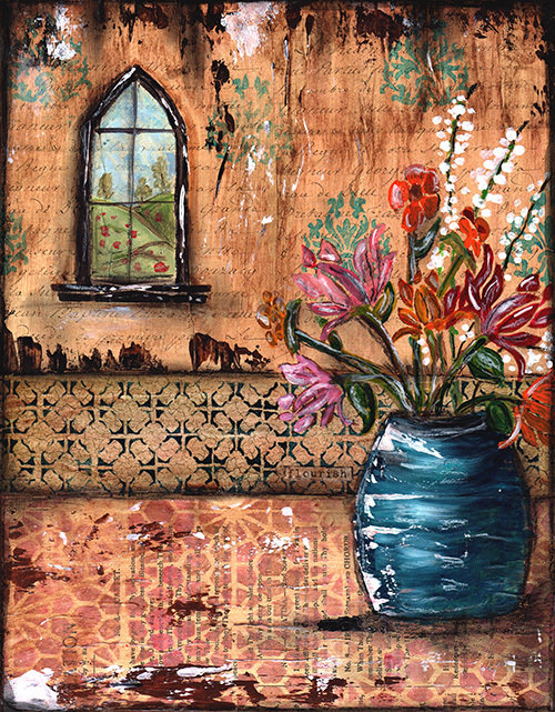 """""""Flourish"""" blue flower pot Print on Wood and Print to be Framed"""