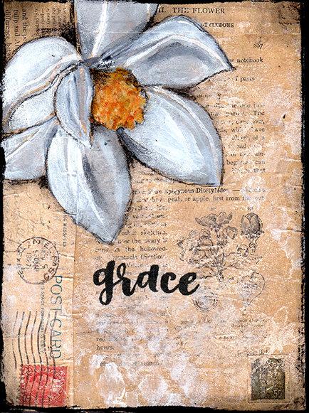 grace magnolia print of the original on wood