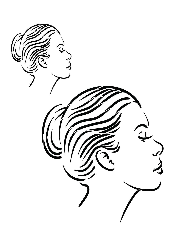 Faces 2 side view stencil