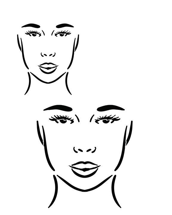Faces 3 straight ahead stencil