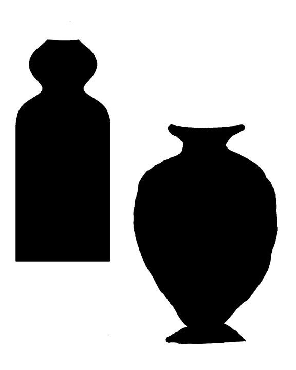 Vases large with masks 8x10 stencil