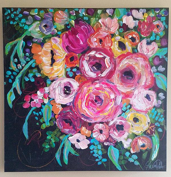"""Happy flowers"" 24x24 mixed media original on canvas"