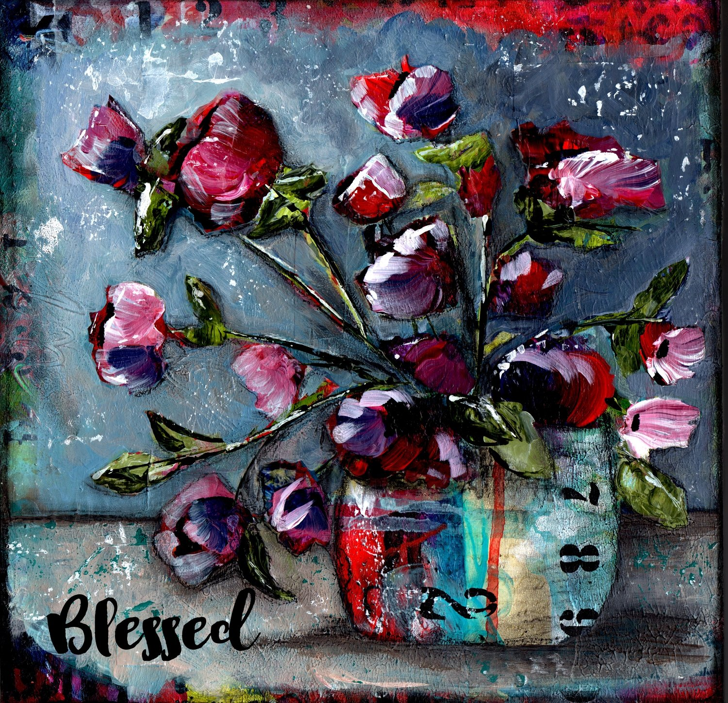 """""""Blessed"""" grungy floral Print on Wood and Print to be Framed"""