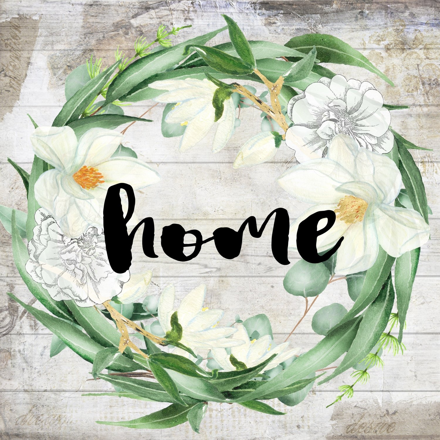 """""""Home"""" eucalyptus wreath Print on Wood and Print to be Framed"""