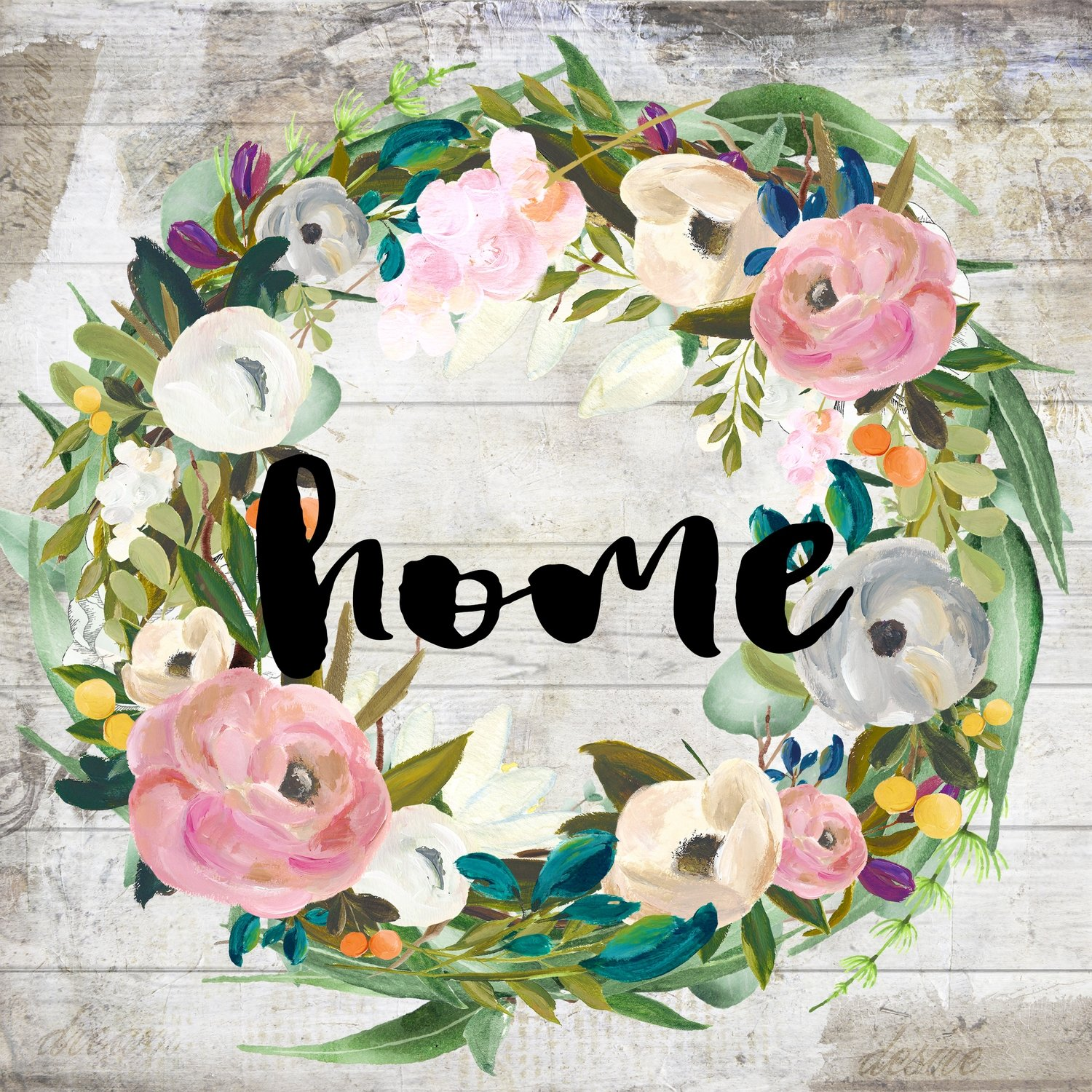 """""""Home"""" muted flower wreath 4x4 Clearance"""