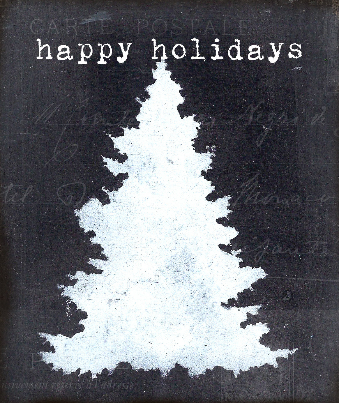 """Happy Holidays"" black and white Christmas tree Print on Wood and Print to be Framed"