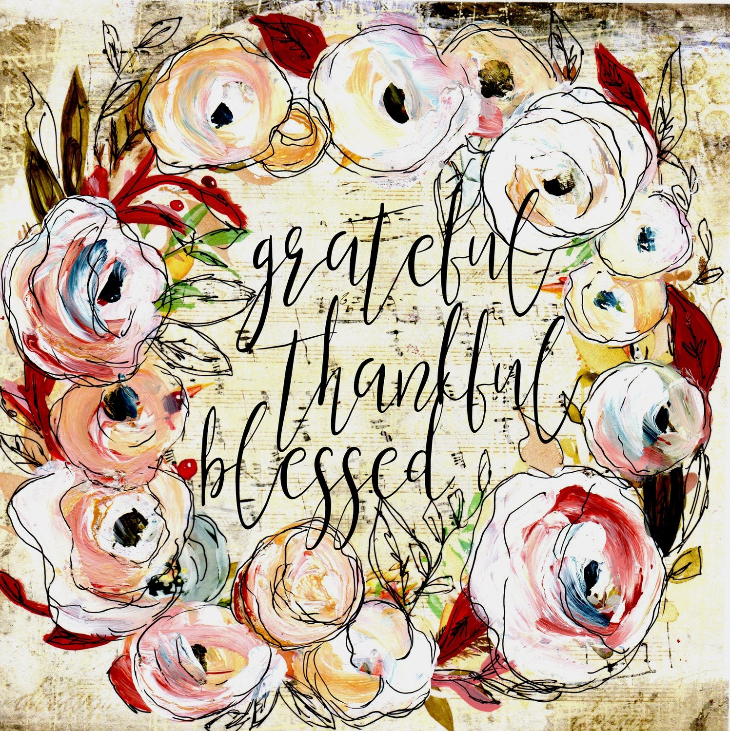 """""""Grateful Thankful Blessed"""" wreath Print on Wood and Print to be Framed"""