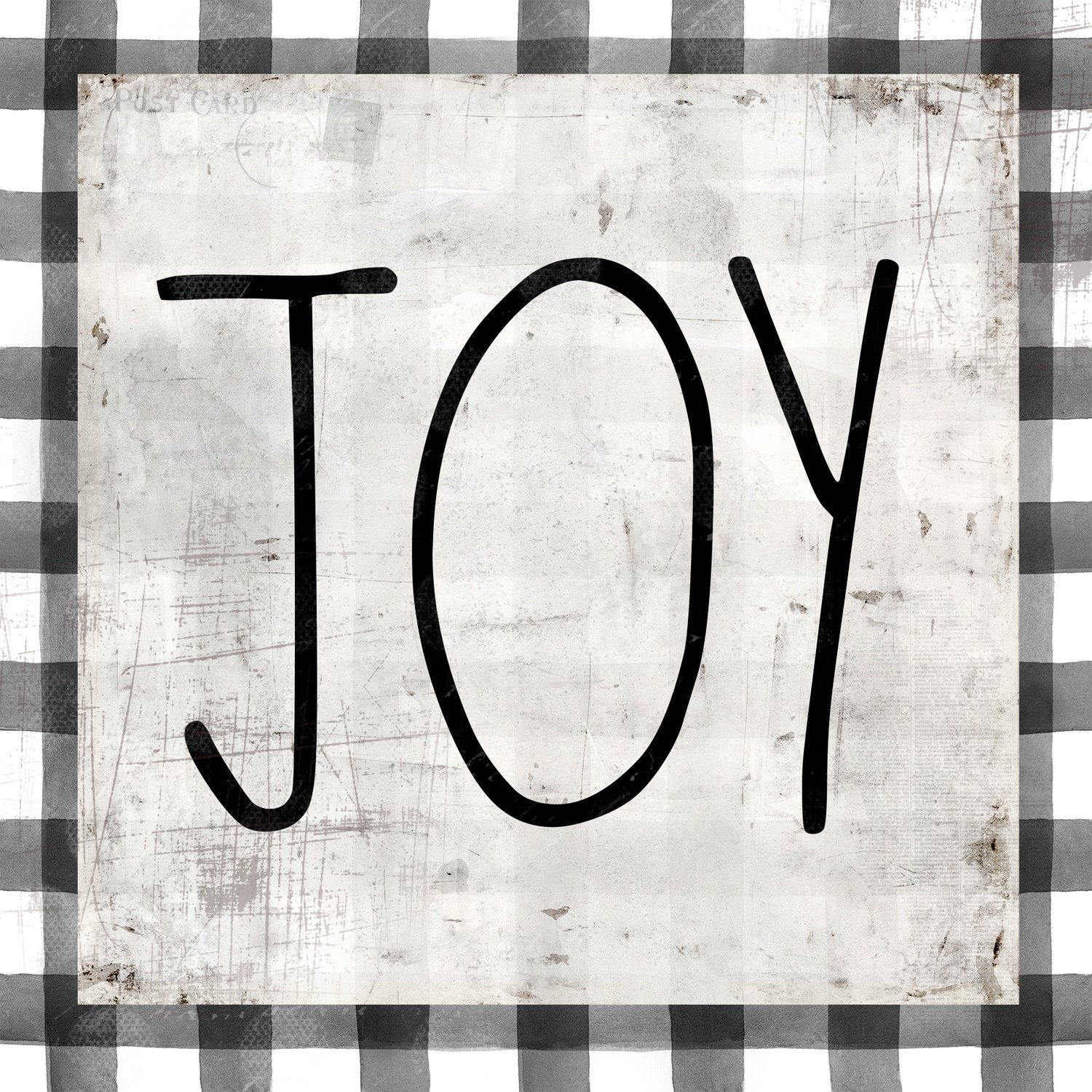 """""""Joy"""" black and white plaid, Print on Wood and Print to be Framed"""