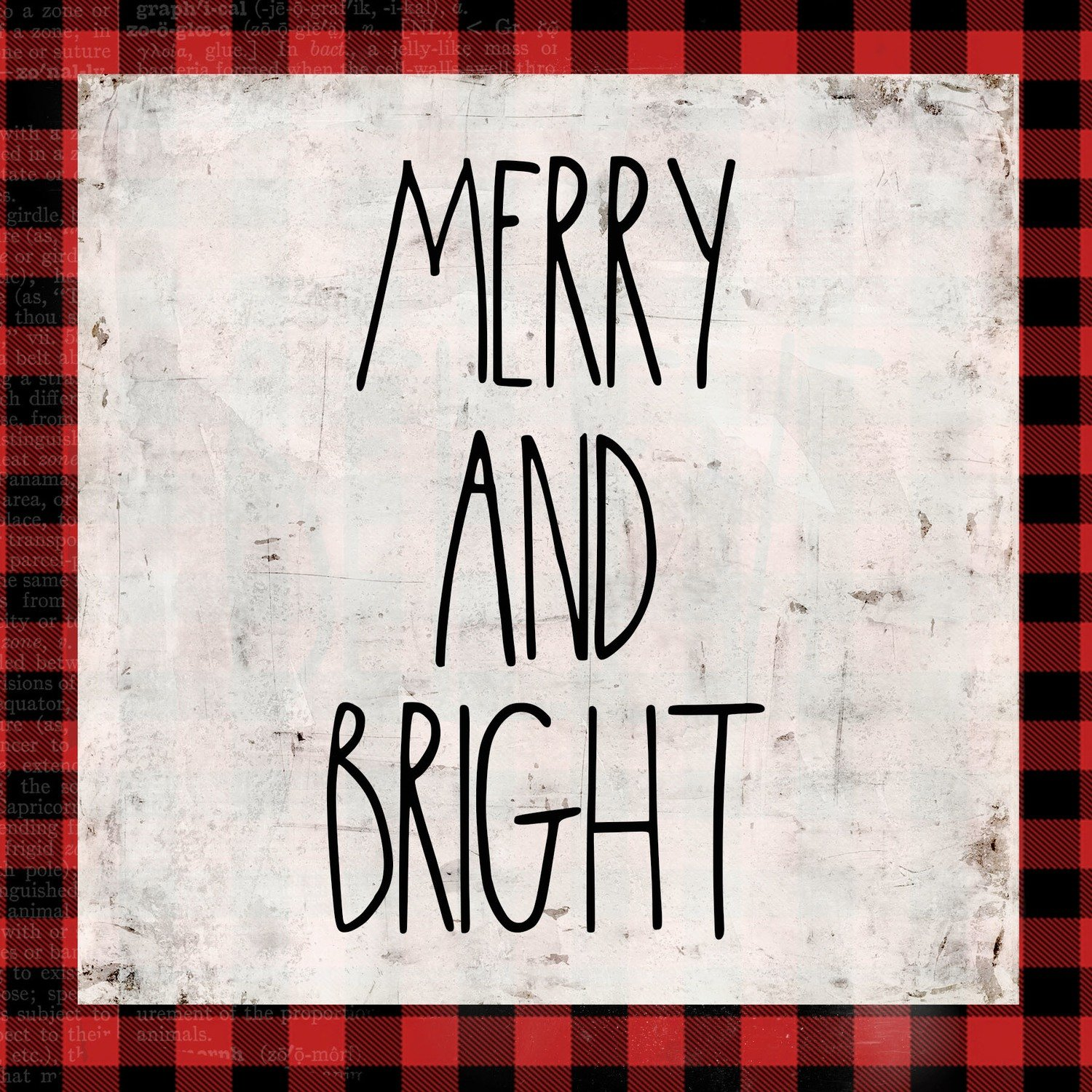 """""""Merry & Bright"""" red plaid, Print on Wood and Print to be Framed"""