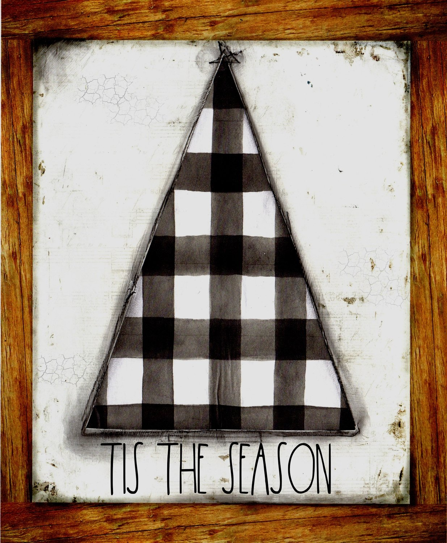 """Tis the Season"" black plaid Christmas Tree, Print on Wood and Print to be Framed"
