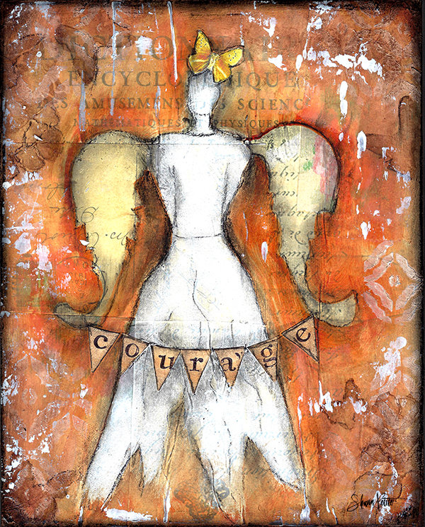 """Courage Angel"" 8x10 mixed media original on wood"
