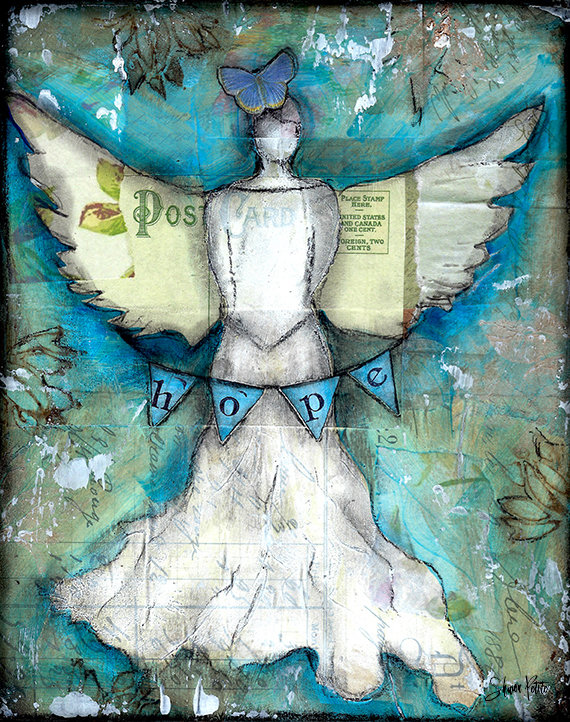 """Hope Angel"" Print on Wood and Print to be Framed"