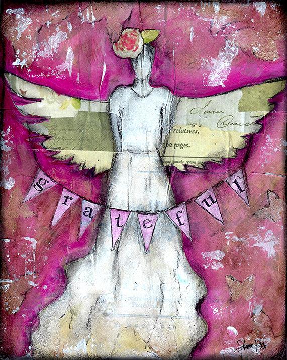 """""""Grateful angel"""" 8x10 mixed media original"""