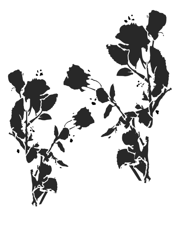 Messy Flower Silhouette 2 stencil