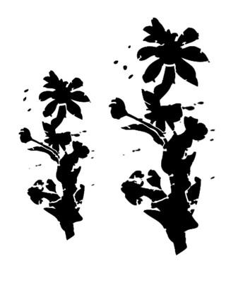 Messy Flower Silhouette 3 stencil