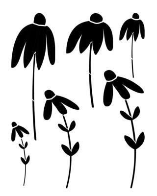 Sketched Flower 1 stencil