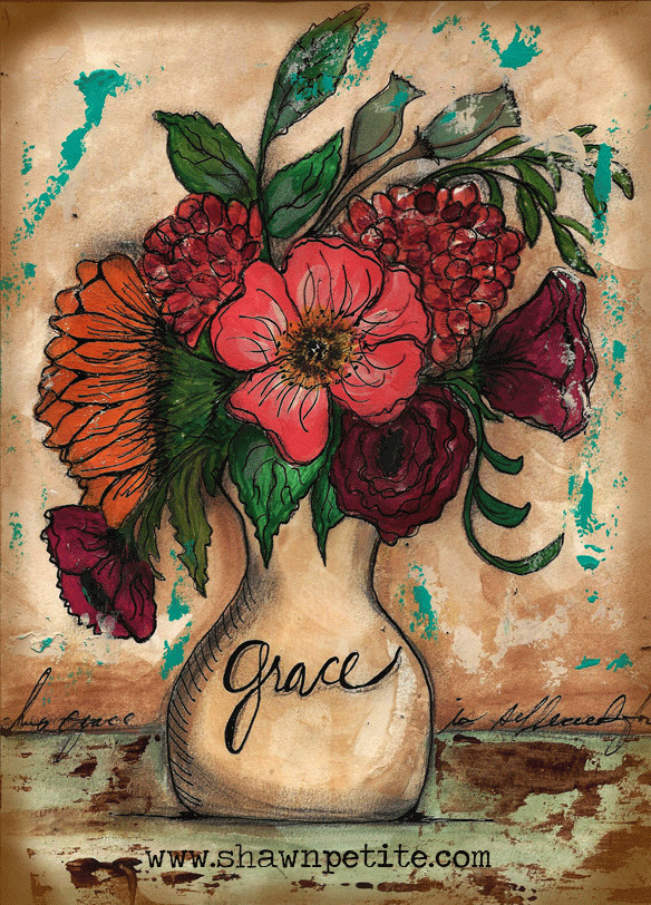 Grace flower vase print of the original on wood