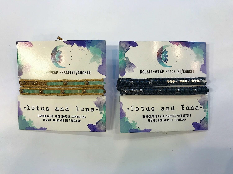 Lotus & Luna Double Wrap Bracelet/Choker