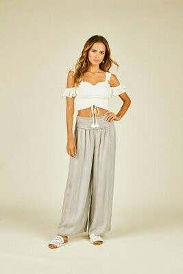 Surf Gypsy Soft Grey Sequin Wide Leg Pant