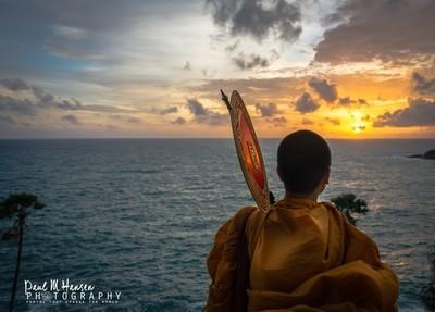 A monk views the Sunset - Phuket Thailand