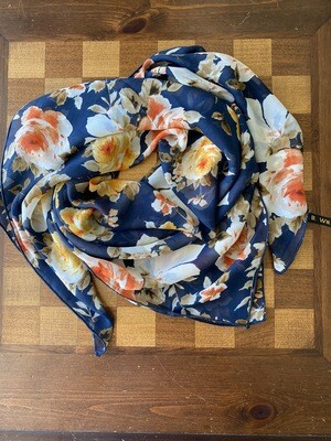 "Navy Mustard Floral 36"" Fashion Scarf"