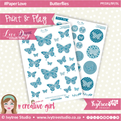 PP/191/BF/SL - Print&Play - CUTE CUTS - Butterflies/Summer Lovin - Love Day Collection