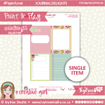 PP/190/PPC/JD - Print&Play - PRETTY POCKET CARDS - JOURNAL DELIGHTS - Creative Girl Collection