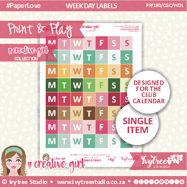 PP/190/CGC/WDL - Print&Play - PLAN IT - Week Day Labels - Creative Girl Collection