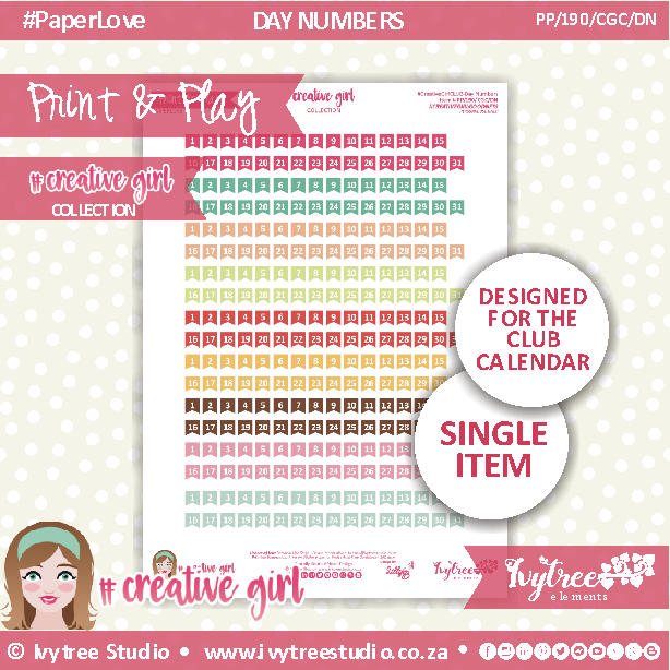 PP/190/CGC/DN - Print&Play - PLAN IT - Day Numbers - Creative Girl Collection
