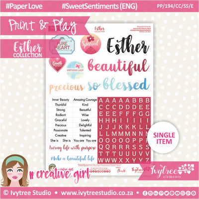 PP/194/CC/SS - Print&Play - CUTE CUTS - Sweet Sentiments (Eng/Afr) - Esther Collection